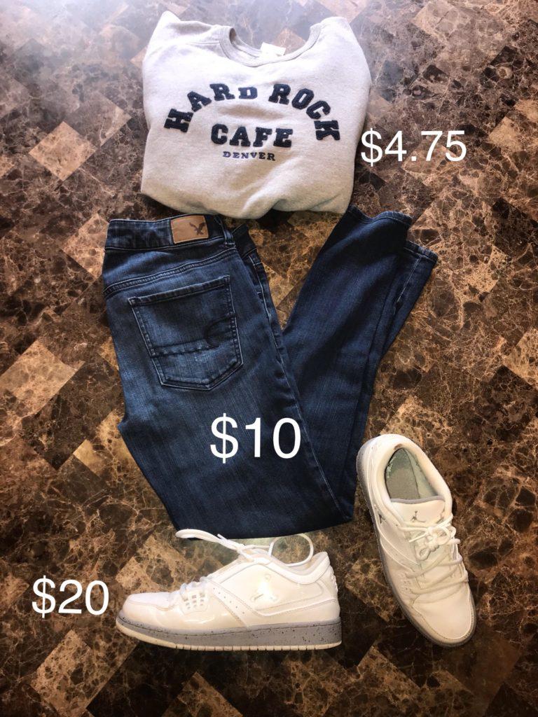 hard rock sweatshirt, american eagle jeans, Jordan shoes